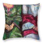 Women Wearing Shawls II Throw Pillow
