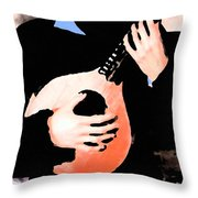 Women With Her Guitar Throw Pillow
