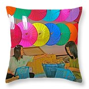 Women Working Together At Borsang Umbrella And Paper Factory In Chiang Mai-thailand Throw Pillow