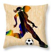 Women's Soccer Throw Pillow