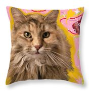 Wonder Kitty Throw Pillow by Jacquelyn Roberts