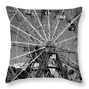 Wonder Wheel Of Coney Island In Black And White Throw Pillow