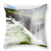 Wonderful Waterfall Gullfoss In South Iceland Throw Pillow
