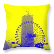Wonderwheel In Blue And Yellow Throw Pillow