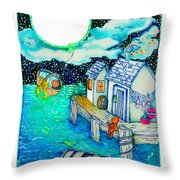 Woobies Character Baby Art Colorful Whimsical Design By Romi Neilson Throw Pillow