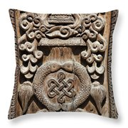 Wood Carving At Bhaktapur In Nepal Throw Pillow by Robert Preston
