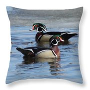 Wood Duck Drake Pair Throw Pillow