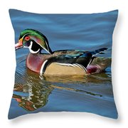 Wood Duck Male Calling Throw Pillow