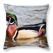 Wood Duck Profile Throw Pillow