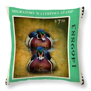 Wood Duck Stamp Throw Pillow