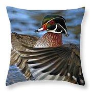 Wood Duck Standing Ovation Throw Pillow