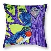 Wood Duck Tree Throw Pillow
