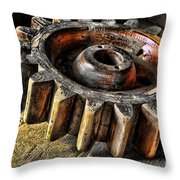 Wood Gears Throw Pillow by Olivier Le Queinec