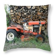 Wood Pile And Lawn Tractor Throw Pillow