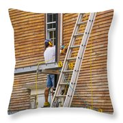 Wood Sanding The House Throw Pillow by Patricia Hofmeester