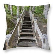 Wood Staircase In Hiking Trail Throw Pillow