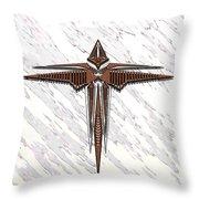 Wood Steel Cross Throw Pillow