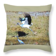 Wood Stork And Blue Heron Throw Pillow