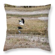 Wood Stork And Herons Throw Pillow
