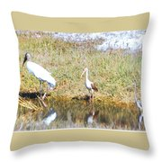 Wood Stork And Ibis And Heron Throw Pillow