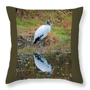 Wood Stork  Throw Pillow