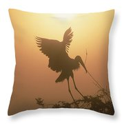 Wood Stork Collecting Nesting Material Throw Pillow