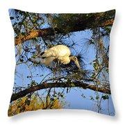 Wood Stork Perch Throw Pillow