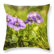 Wood Violet Throw Pillow