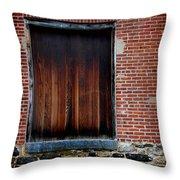 Wood Window Brick Wall Throw Pillow