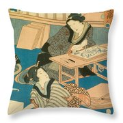 Woodblock Production Throw Pillow