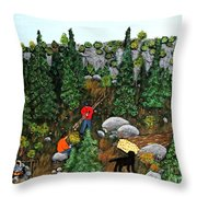 Woodcutters And Black Lab Throw Pillow