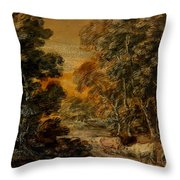 Wooded Landscape With Herdsman And Cattle Throw Pillow