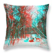 Wooded Path - Use Red And Cyan Filtered 3d Glasses Throw Pillow