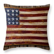 Wooden American Flag On Wood Wall Throw Pillow