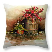 Wooden Barrel With Flowers Throw Pillow