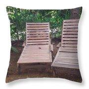 Wooden Beach Chairs Throw Pillow