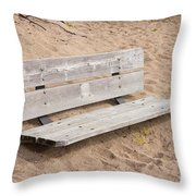 Wooden Bench Burried In The Sand Throw Pillow