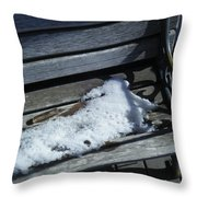 Wooden Bench With Snow 1 Throw Pillow