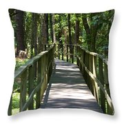 Wooden Boardwalk Through The Forest Throw Pillow
