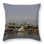 Wooden Boats Shikaras And Houseboats In The Dal Lake In Srinagar Throw Pillow