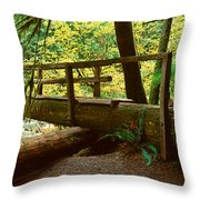 Wooden Bridge In The Hoh Rainforest Throw Pillow