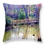 Wooden Bridge Over Pond Throw Pillow