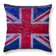 Wooden British Flag Throw Pillow