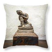 Wooden Buddha Statue Throw Pillow
