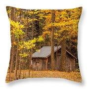 Wooden Cabin In Autumn Throw Pillow