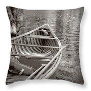 Wooden Canoe Throw Pillow