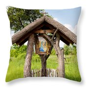wooden shrine of holy Mother in Poland  Throw Pillow