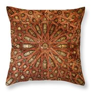 Wooden Coffered Ceiling In The Alhambra Throw Pillow