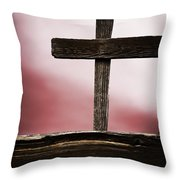 Wooden Cross Throw Pillow