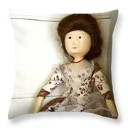 Wooden Doll Throw Pillow by Margie Hurwich